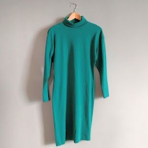 vintage 80's teal knit turtleneck midi dress